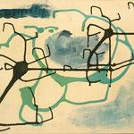 """SOLD Eva Hradil """"Wasser"""" 2016, Eitempera auf Halbkreidegrund auf Leinwand, 50 x 60 cm"""
