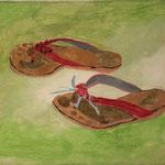 """Eva Hradil """"repariert"""" Eitempera auf Halbkreidegrund auf Leinwand, 30 x 33 cm"""