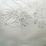 Eva Hradil, 7 Hände quer durch die Hierarchien eines großen Betriebes, 50x 60 cm