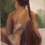 "Eva Hradil ""Molliger Rückenakt"" 2002 Öl auf Leinwand, 60 x 50"