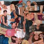 """Eva Hradil, """"21 Menschen"""", 2014/2015, Eitempera auf Halbkreidegrund auf Leinwand, 200 x 400 cm"""