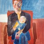 """Eva Hradil """"Patricia Schmegkal und Anna"""" oder """"Mutter & Kind"""", 1998, Pigemnte und Acrylbinder auf Leinwand, 90 x 80 cm"""