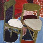 """Eva Hradil """"Zwei Sessel mit Muster"""" 2017 Eitempera auf Halbkreidegrund auf Leinwand, 130 x 110 cm"""