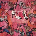 """Eva Hradil """"Das neue Paar"""" 2015, Eitempera auf Halbkreidegrund auf Leinwand, 80 x 90 cm, im Katalog """"beziehungsweise"""" abgebildet"""
