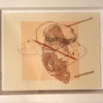 """Eva Hradil """"Ei, Haut, Brot, Stifte"""" Serigrafie, 1/1, gerahmt 30 x 40 cm"""