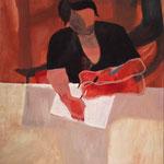 """Eva Hradil """"Konzertriert schreiben"""" 2005, Eitempera auf Leinwand, 90 x 80 cm"""