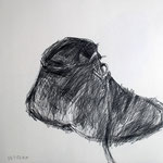 Eva Hradil, Schuhskizzen, 2003, Bleistift auf Papier, 40 x 40 cm