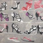 "Leihgabe, Eva Hradil ""female shoes do appear.."" 2015, Eitempera auf Halbkreidegrund auf Leinwand, 80 x 90 cm"