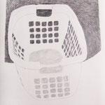 """Eva Hradil """"Waschkorb"""" 2012, Bleistift auf Papier, 65 x 50 cm, aus """"Brautkleider waren mir immer zu eng"""""""