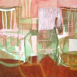 """Eva Hradil """"Hintergrund II"""" 2007, Eitempera auf Halbkreidegrund auf Leinwand, 200 x 300 cm, Triptychon"""