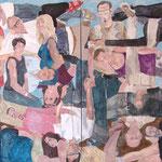 """Eva Hradil """"21 Menschen"""" 2014/2015, Eitempera auf Halbkreidegrund auf Leinwand, 200 x 400 cm Polyptychon"""