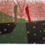 """Eva Hradil aus """"(meine) Bekleidungslandschaften, Serigrafie, 50 x 70 cm"""