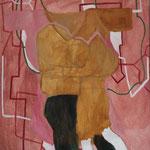 """Eva Hradil """"Paar mit Vernetzung"""" 2014/2015, Eitempera und Öl auf Halbkreidegrund auf Leinwand, 90 x 80 cm, im Katalog """"beziehungsweise"""" abgebildet"""