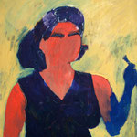 """Eva Hradil """"Pinsel als Blume, Kleiderschürze als Abendkleid"""" ´1999, Öl auf Leinwand 90 x 80 cm"""
