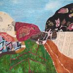 """SOLD Eva Hradil """"Landscape S&H"""" 2016, Eitempera auf Halbkreidegrund auf Leinwand, 80 x 90 cm"""