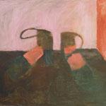 """privat Eva Hradil """"Grüne Schuhe im Raum"""" Öl auf Leinwand, 50 x 60 cm"""