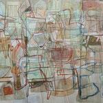 """SOLD Eva Hradil """"Liechtengrund"""" 2009, Eitempera auf Halbkreidegrund auf Leinwand, 200 x 300 cm, Triptychon"""