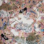 """Eva Hradil """"Wege finden"""" 2014/2015, Eitempera auf Halbkreidegrund auf Leinwand, 130 x 110 cm, im Katalog """"beziehungsweise"""" abgebildet"""