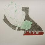 Eva Hradil, Schloss Orth an der Donau, Zeichnung und Holzschnitt. 50 x 60 cm