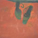 "SOLD Eva Hradil ""Grüne Schuhe auf rot"" Öl auf Leinwand, 80 x 90 cm"