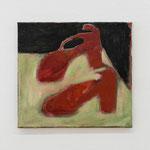 """""""Rote Schuhe neben erbsengrün"""", 2003-2006-2013, Öl auf LW, 30 x 33 cm, Foto: DOK"""