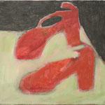"""Eva Hradil """"rot erbsengrün dunkelbraun"""" Öl auf Leinwand 30 x 33 cm"""