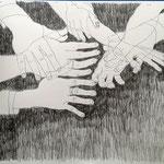 Eva Hradil, 7 Hände quer durch die Hierarchien eines großen Betriebes, 50 x 60 cm