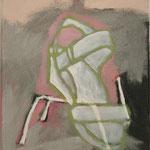 """Eva Hradil """"Schuh mit Sesselbeinen"""" Öl und Eitempera auf Leinwand 33 x 30 cm"""