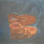 """Eva Hradil """"Arbeitsschuhe im Atelier"""" 2002, Öl auf Leiwand, 50 x 60 (schadhaft)"""