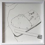 "Eva Hradil ""Mensch, Brot, Messer, Brett"" 2018, 30 x 30 cm"