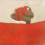 """Eva Hradil """"kleine rote Schlapfen"""" Eitempera auf Leinwand 30 x 33 cm"""