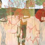 """Eva Hradil """"Hautfarbene Wiese"""" 2004/2006, Öl und Eitempera auf Leinwand, 200 x 300 cm, Triptychon"""