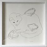 "Eva Hradil ""Brotekatze"" 2017, Bleistift auf Papier, 30 x 30 cm"