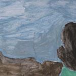 """SOLD Eva Hradil """"OT für OZ"""" Eitempera auf Halbkreidegrund auf Leinwand, 45 x 50 cm"""