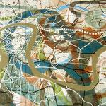 """Eva Hradil """"Moldau-Schleife"""" 2010, Eitempera auf Halbkreidegrund auf Leinwand, 200 x 300 cm, Triptychon"""