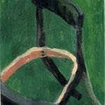 """Eva Hradil """"grün, hautfarben, schwarz"""", 2002, Öl auf Leinwand 60 x 50 cm"""