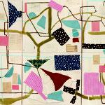 "Eva Hradil ""Omage"" 2014. Eitempera, Textilien, Papier auf Molino, 160 x 270 cm, Polyptychon"