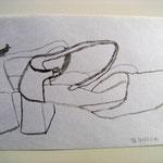 Eva Hradil, Written Shoes 2001, Tusche auf Papier