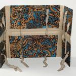 """SOLD Eva Hradil """"türkis-beige"""" 2009, Textilie, Karton, Buchbinderleinen, Bänder"""