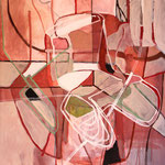 """Eva Hradil """"Movement"""" Eitempera auf Halbkreidegrund auf Leinwand, 140 x 130 cm"""