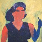 """Eva Hradil """"Schuerze als Abendkleid, Pinsel als Blume"""" , Öl auf Leinwand, 90 x 80 cm"""