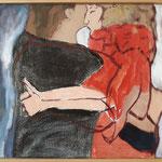 "Eva Hradil ""Umarmung"" 2013-2018, Eitempera auf Halbkreidegrund auf Leinwand, 45 x 50 cm"