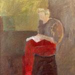 """SOLD Eva Hradil """"Sophie beim Lesen"""", 2003, Öl auf Leinwand, PRIVAT"""