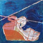 """SOLD Eva Hradil """"Schuh, Schuh nur Du allein..."""" Öl und Eitempera auf Halbkreidegrund auf Leinwand, 33 x 30 cm"""