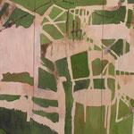 """SOLD Eva Hradil """"Hintergrund I"""", Öl und Eitempera auf Halbkreidegrund auf Leinwand, 200 x 300 cm, Triptychon"""