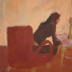 "SOLD Eva Hradil ""Pia schreibt"" 2003, Öl auf Leinwand, 30 x 33 cm"