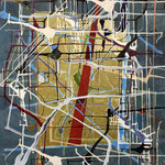 """Eva Hradil """"Golden Window"""" Eitempera auf Halbkreidegrund auf Leinwand, 130 x 110 cm"""