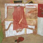 """Eva Hradil """"Atelierkreuz"""", Eitempera und Öl auf Leinwand, 140 x 130 cm"""