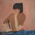"""SOLD Eva Hradil """"Pia malt Elefanten"""" 2003, Eitempera und Öl auf Leinwand 33 x 30 cm"""