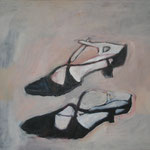 "SOLD Eva Hradil ""Tanzschuhe"" Öl auf Leinwand 50 x 60 cm"